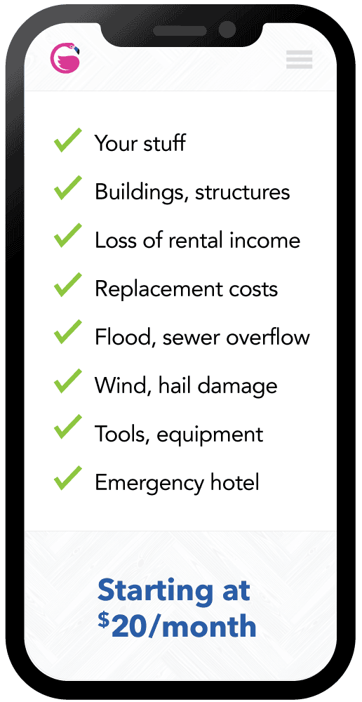 Vertical Iphone screenshot representing the items landlord insurance covers
