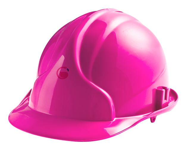 Image of pink hardhat with Insurego logo in the middle